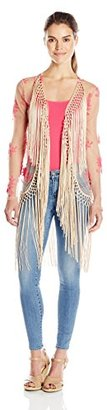 Buffalo David Bitton Women's Rhapsody Embroidered Kimono with Fringe $118 thestylecure.com