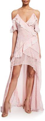 Jonathan Simkhai Speckle-Print Cold-Shoulder Ruffle High-Low Dress