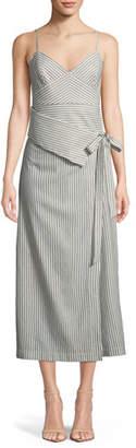 Robert Rodriguez Faux-Wrap Stripe Silk Dress
