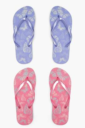 boohoo Alexis Butterfly Print Two Pack Flip Flops