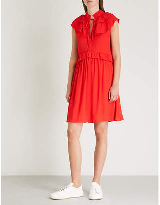 Maje Rutta ruffle-trim crepe dress