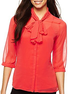 JCPenney Worthington® Pleated Bow Blouse with Cami