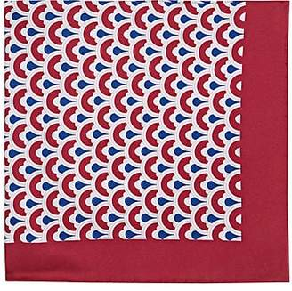 Barneys New York Men's Circle Print Silk Twill Pocket Square - Red