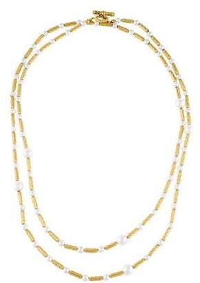 David Yurman 18K Pearl Station Necklace