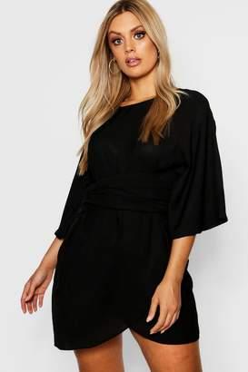 boohoo Plus Kimono Sleeve Wrap Dress
