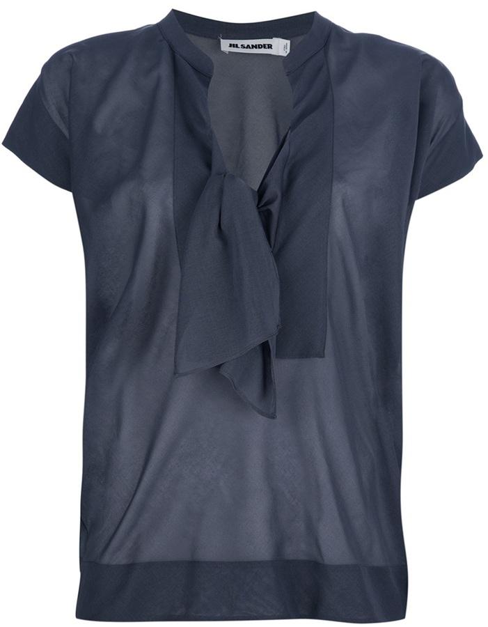Jil Sander knotted front blouse