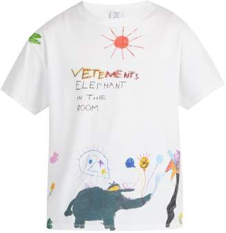 Vetements Crayon Elephant-print cotton T-shirt