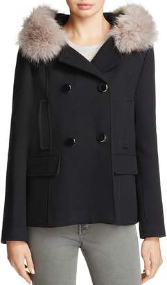 Kate Spade Double-Breasted Faux Fur Twill Coat