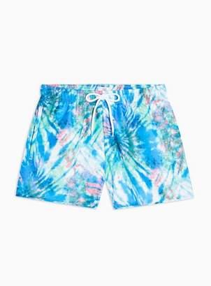 Topman Mens Blue Tie Dye Print Swim Shorts