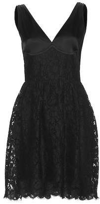 Miu Miu Sleeveless satin and lace dress