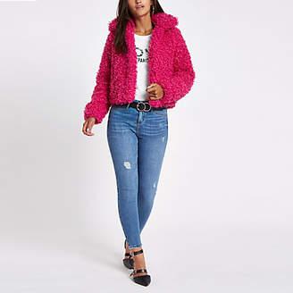 River Island Womens Petite Pink faux fur crop jacket