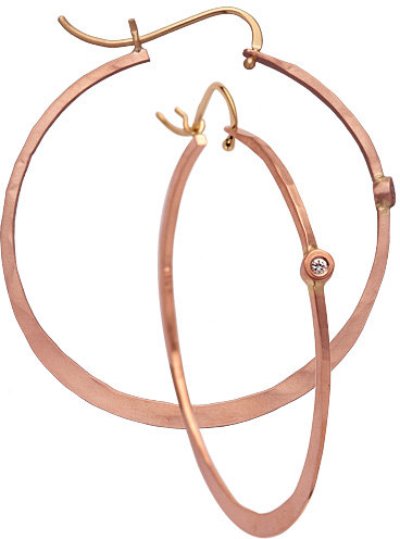 Rebecca Norman Large Rose Gold Diamond Hoops