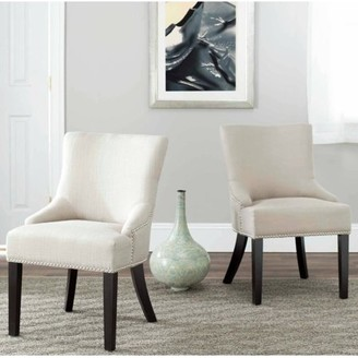 Safavieh Viscose-Cotton Upholstered Lotus Side Chair, Set of 2, Antique Gold