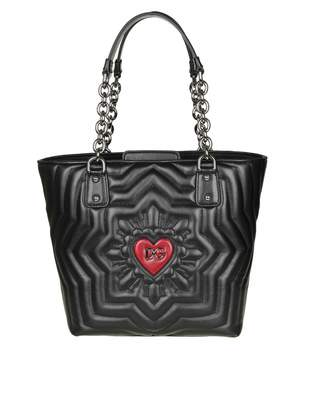 Dolce & Gabbana Shopping Quilting Love In Black Color Leather