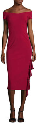 Nicole Miller Heavy Jersey Off-The-Shoulder Dress