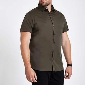 River Island Mens Big and Tall Green poplin slim fit shirt