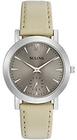 Bulova Women's White Leather Strap Watch $175 thestylecure.com