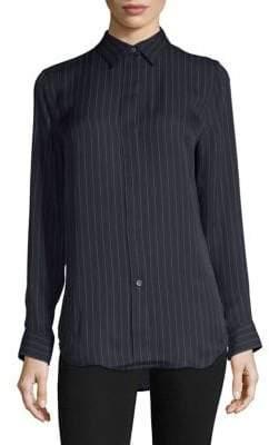 Theory Silk Striped Button-Down Shirt