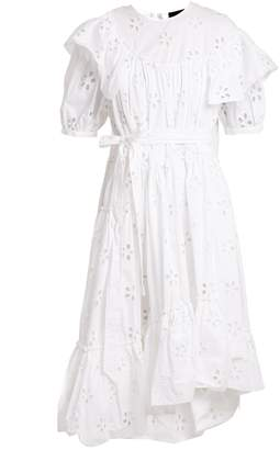 Simone Rocha Round-neck floral broderie-anglaise cotton dress