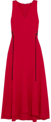 Tome Lace-up Crepe Midi Dress - Red