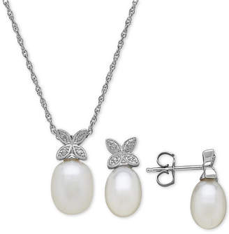 Macy's Cultured Freshwater Pearl & Diamond Accent Jewelry Set in Sterling Silver