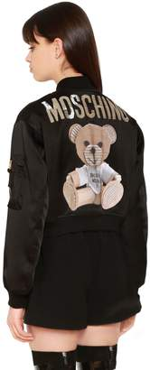 Moschino Envers Satin Bomber Jacket W/ Bear Patch
