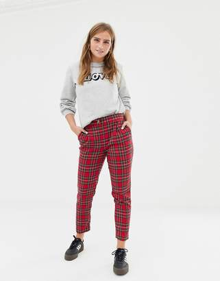 New Look tapered pants in red tartan