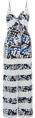 Mara Hoffman Cutout Tie-Front Printed Twill Wide-Leg Jumpsuit
