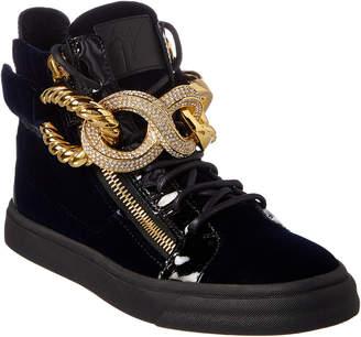 Giuseppe Zanotti Embellished Velvet & Patent High-Top Sneaker