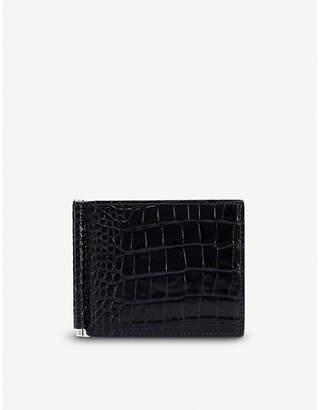 Smythson Mara croc-embossed leather money clip wallet