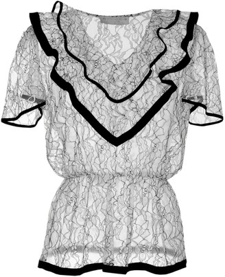 Roses Are Red Estelle Silk & Lace Blouse In Black & White
