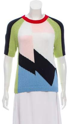 Tibi Colorblock Short Sleeve Sweater