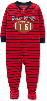 Carter's Carter Toddler Boys Striped Football Fleece Pajamas