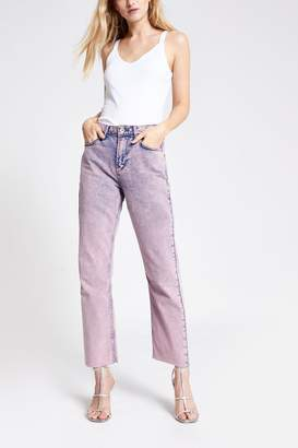 River Island Womens Pink Straight Sally Jeans - Pink