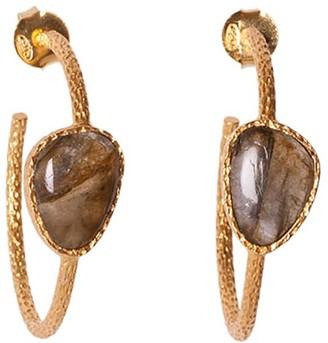 Christina Greene Hoop Earrings in Labradorite