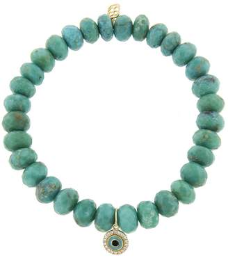 Sydney Evan Enamel and Pave Evil Eye Charm On Turquoise Beaded Bracelet