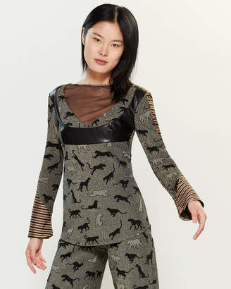 Save the Queen Patterned Bell Sleeve Top