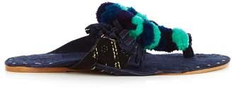 Figue Salome fringed pompom suede sandals