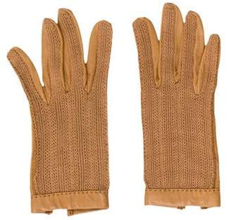 Hermes Knit and Leather Gloves