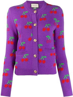 Gucci GG cherry jacquard wool knit cardigan