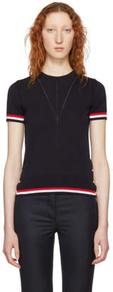 Thom Browne Navy Short Sleeve Tipping Stripe Sweater