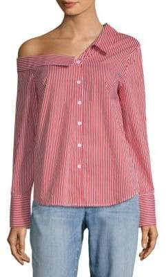 Stripe One-Shoulder Cotton Button-Down Shirt