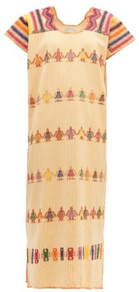Pippa Holt - No.148 Embroidered Striped Cotton Kaftan - Womens - Orange Multi