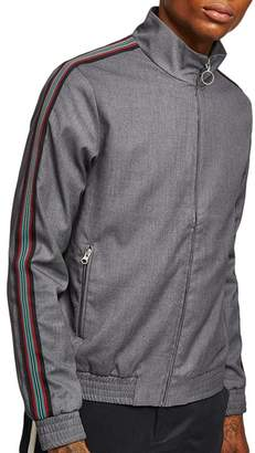 Topman Melange Stripe Track Jacket