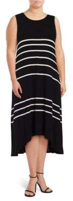 Vince Camuto Size Striped Hi-Lo Dress