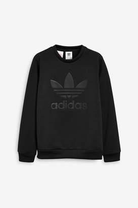adidas Boys Black Embossed Trefoil Crew Sweater - Black