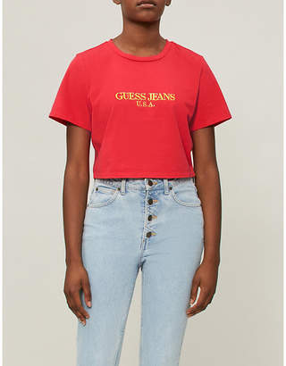 GUESS USA Farmers Market logo-print cropped cotton-jersey T-shirt