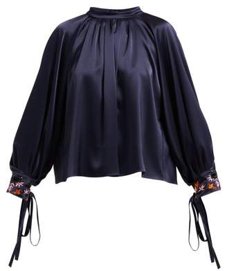 Osman Floral Bead Embroidered Satin Blouse - Womens - Navy Multi