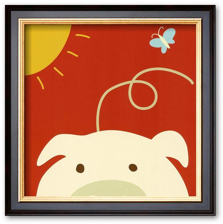 "Art.com Peek-a-Boo IV, Pig"" Framed Art Print By Yuko Lau"