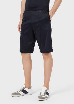 Giorgio Armani Bermuda Shorts In Cotton Interlock Fabric With Bands And Flocked Studs